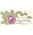 Sheet of old paper decorated of pink roses vector image