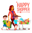 shopping woman with children purchasing vector image vector image