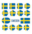 sweden flag collection figure icons set vector image vector image