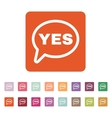 The YES speech bubble icon Yes symbol Flat vector image vector image