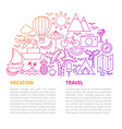 vacation travel line template vector image vector image