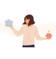woman choosing between bank and piggybank flat vector image
