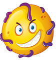 Yellow ball with tricky face vector image vector image