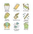 zero waste swaps handmade color icons set vector image vector image