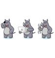 Gray Rhino Mascot with laptop vector image