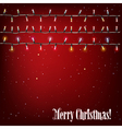 Abstract background with Christmas lights on red vector image