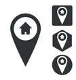 Address marker icon set monochrome vector image vector image