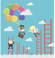 african businessman compete by climbing higher up vector image