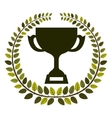 arch of leaves with Trophy Cup with plate vector image vector image