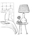 Bedroom modern interior sketch Hand drawn vector image