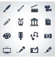 black art icon set vector image