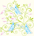 Butterfly on swirl texture vector image vector image