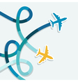 Card with two planes and colored trace of them vector image vector image