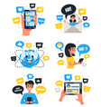 chat communication compositions icons set vector image vector image