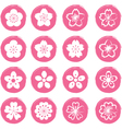 Cherry Blossoms or Sakura flowers Icons Set vector image