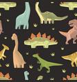 childish dinosaurs seamless pattern cute vector image vector image