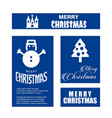 christmas card set with blue background vector image