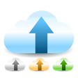 cloud with arrow upload buttons 3 colors vector image vector image