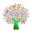 colorful tree hand concept for nature team help vector image vector image