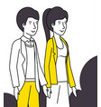 couple lovers with yellow clothes walking vector image