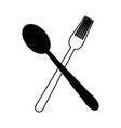 crossed spoon and fork tool cooking kitchen icon vector image vector image