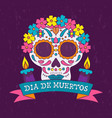 day dead mexican flower skull candle card vector image vector image