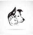dog and cat head design on a white background vector image vector image