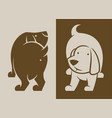 dog characters silhouette back and front vector image