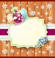 easter card with eggs and label on wooden vector image vector image