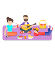flat style of happy family picnic in the park with vector image vector image