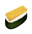 Fried Egg Sushi or Tamagoyaki on White vector image vector image