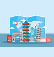 global map and global towers tourism vector image vector image