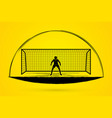 goalkeeper action prepare catches the ball vector image vector image