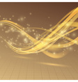Golden bright shimmering energy wave lines vector image vector image