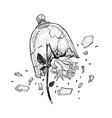 hand drawn broken wild rose in view of hands vector image vector image