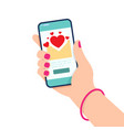 hand holding smartphone with love messages on vector image vector image