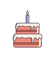 happy birthday sweet cake with candle celebration vector image vector image