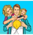 Happy family - super dad mother and daughter vector image vector image