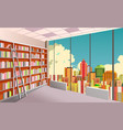 library bookshelves interior vector image vector image