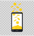 mobile telephone with gold coin pile on vector image