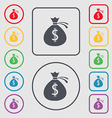 Money bag icon sign Symbols on the Round and vector image