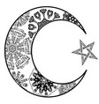 new moon and star zentangle style vector image vector image