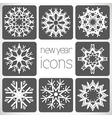 New Year Monochrome Icons Set with snowflakes vector image vector image