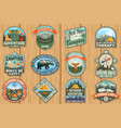outdoor adventure patch with quotes vector image vector image