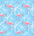 pink flamingos and palms seamless tropical vector image vector image