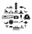 plunge icons set simple style vector image vector image
