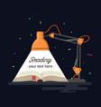 reading lamp light book vector image