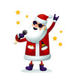 roc-n-roll santa character singing santa claus vector image