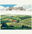 rural landscape in graphical style imitating vector image