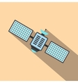 Satellite flat icon with shadow vector image vector image